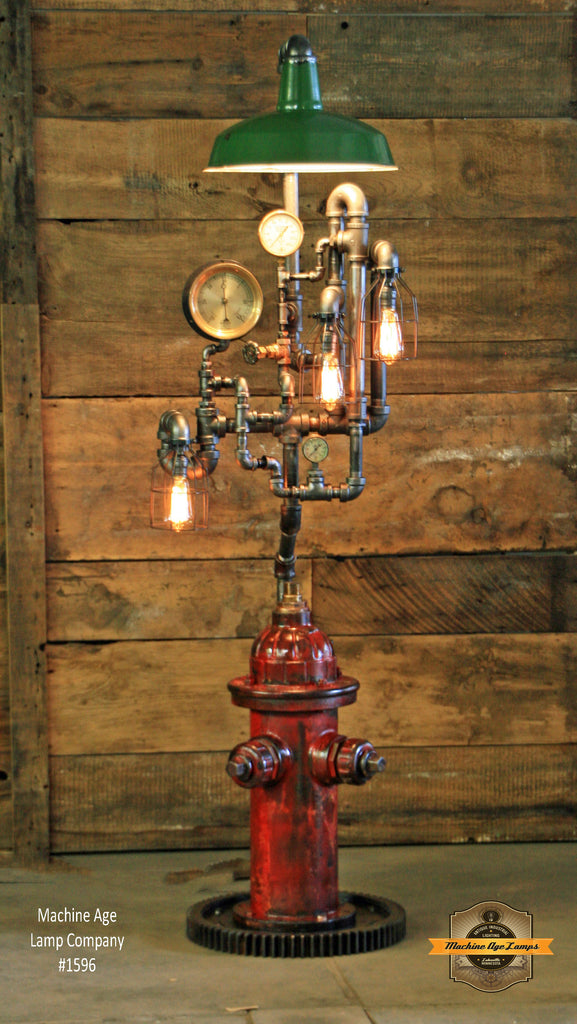 Steampunk Industrial / Fire Hydrant / Floor Lamp / Service Station Shade / Steam Gauge / Lamp #1596