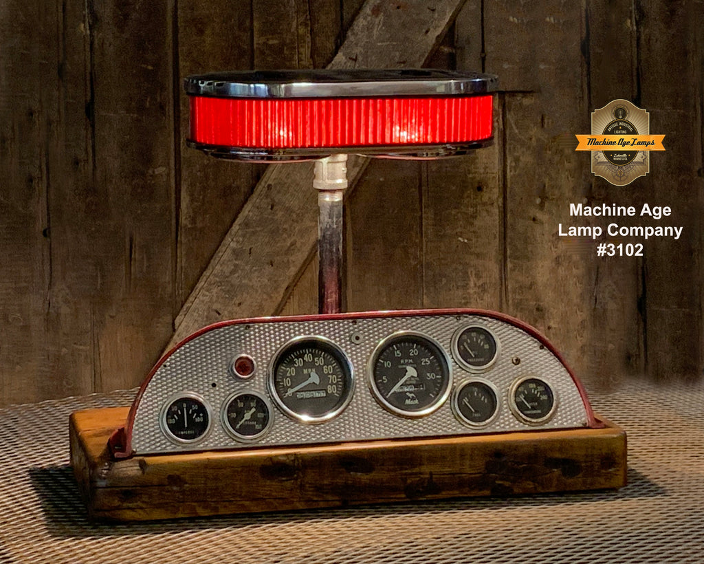 Steampunk Industrial / Antique / 1965 Mack Fire Truck Dash  / Automotive / Lamp #3201