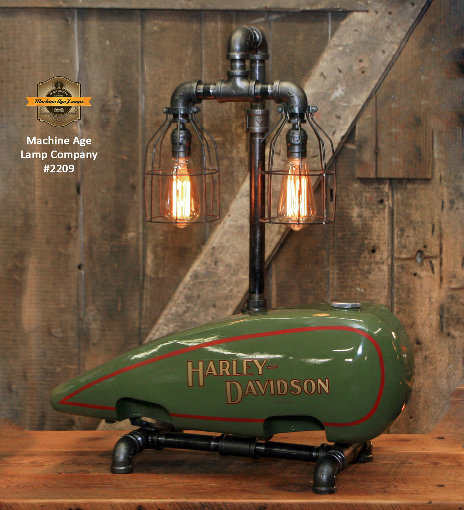 Steampunk Industrial / C1925 Vintage HD Motorcycle Gas Fuel Tank / Machine Age Lamp #2209 sold