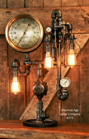 Steampunk Industrial, Steam Gauge Lamp - #773