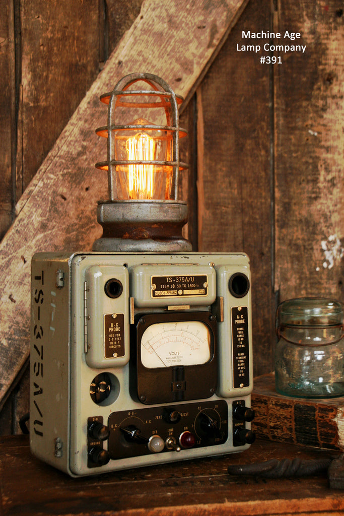 Steampunk Industrial Lamp, Military Signal Corps Meter  #391 - SOLD