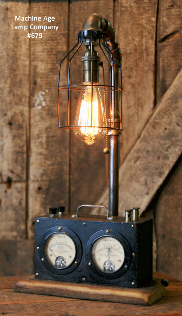 Steampunk Industrial, Steam Gauge Lamp  #679 - SOLD