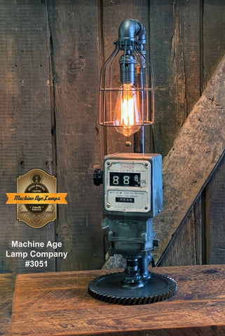 Steampunk Industrial / Steam Gauge Lamp / Tokheim Gas Pump Meter / Automotive Service Station / Lamp #3051