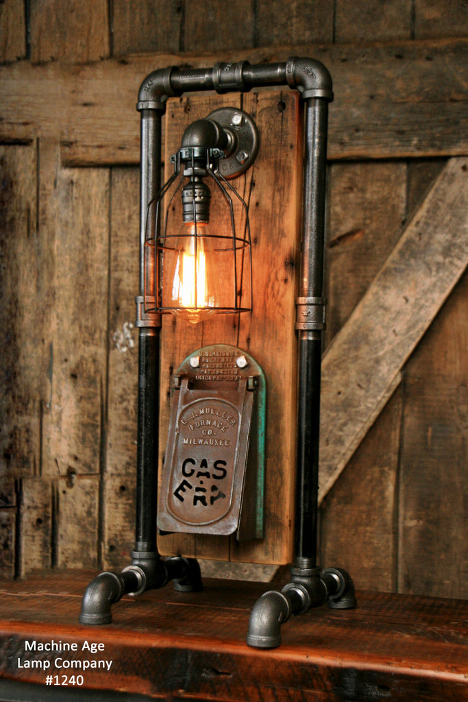 Steampunk Industrial Lamp Barn Wood Stove Door Milwaukee 1240