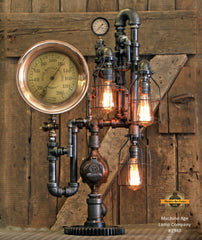 Steampunk Industrial / Antique Steam Gauge Lamp / Metcalf / Providence RI / Lamp #1940