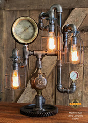 Steampunk Industrial / Machine Age Lamp / Antique Steam Gauge  /  Lamp #2649 sold