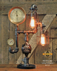 Steampunk Industrial Lamp / Watson Stillman New York Gauge / Gear / Steam Gauge / Lamp #1727 sold