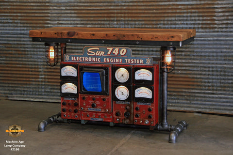 Steampunk Industrial / Antique Sun Engine Analyzer / Automotive / Barn wood Table / #2166