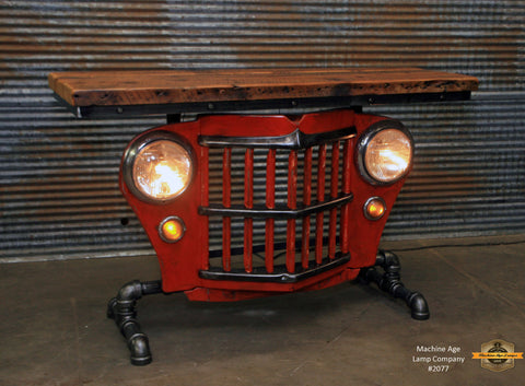 Steampunk Industrial / Original vintage 50's Jeep Willys Grille / Table Sofa Hallway / Orange / Table #2077