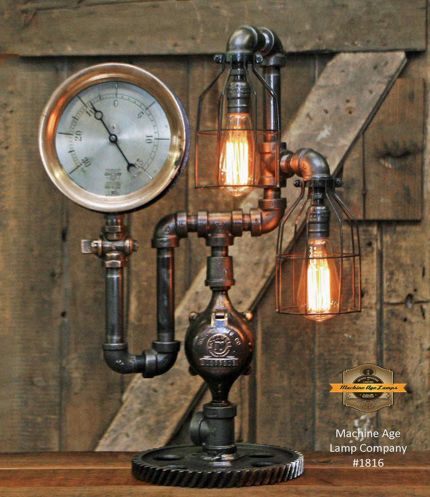 Steampunk Industrial Lamp / Antique Steam Gauge / Gear / Lamp #1816 sold