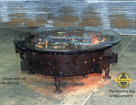 Steampunk Industrial / Antique Farm Tractor Wheel Coffee Table / McCormick Deering  #dc123