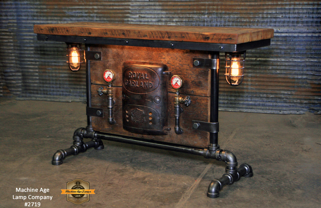 Antique Steampunk Industrial Boiler Door Table Stand, Reclaimed Wood Top - #2719