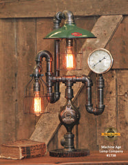 Steampunk Industrial Lamp / Antique Steam Gauge / Antique Service Station Shade / Gear / Lamp #1738
