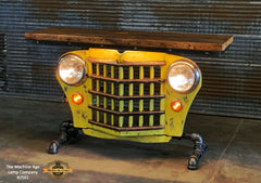 Steampunk Industrial / Original vintage 50's Jeep Willys Grille / Automotive  / Table Sofa Hallway / Yellow  / Table #2561