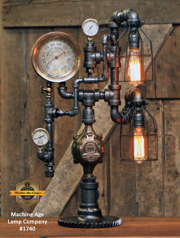 Steampunk Industrial Lamp / Antique Railroad Locomotive Steam Gauge / Wilmending PA / Lamp #1740 sold