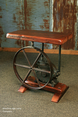 Steampunk Industrial Table / Antique Pump Jack / Barn Wood / #1529 - SOLD