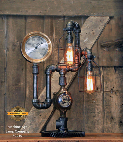 "Steampunk Industrial Machine Age Lamp Company / 6"" Steam Gauge  / Gear Base  / Lamp #2219 Sold"