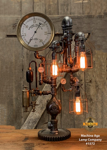 Steampunk Industrial / Antique Steam Gauge and Oiler / Kewanee IL /  Gear / Lamp #1572