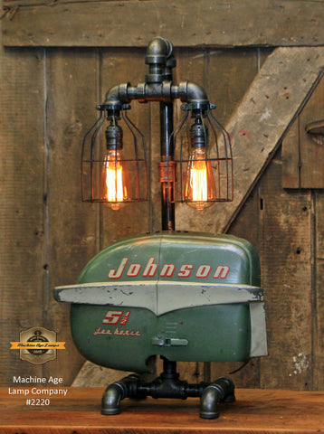 Steampunk Industrial / Boat Motor / Nautical / Marine / Cabin /  Lamp #2220