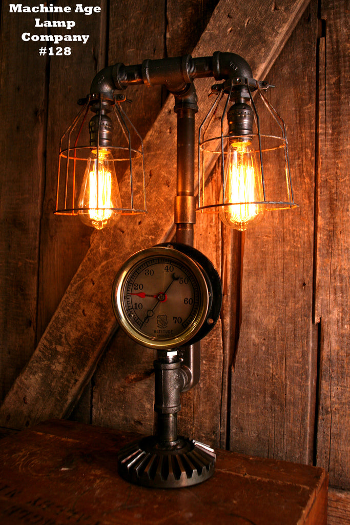 Steampunk lamp, Steam Gauge,  Industrial #128 - SOLD