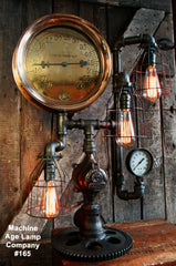 Steampunk Lamp, Steam Gauge Lighting #165 - SOLD
