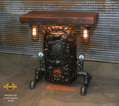 Steampunk Industrial Table / Anitque Boiler Door / Barnwood / Steam Gauge / Table 2308 sold
