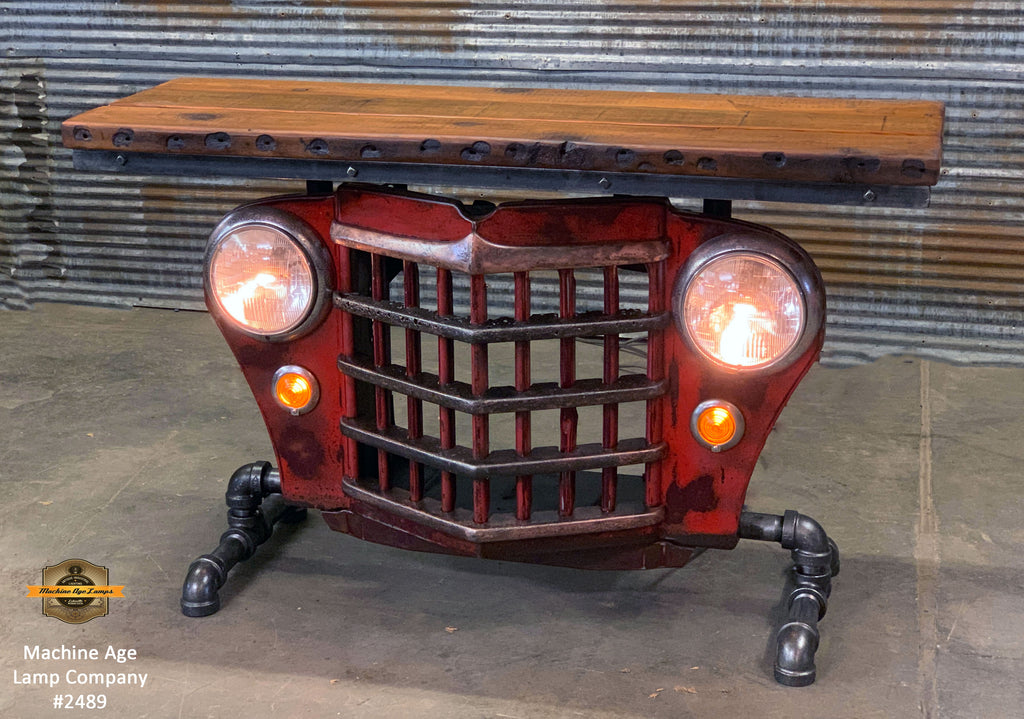 Steampunk Industrial / Original vintage 50's Jeep Willys Grille / Table Sofa Hallway / RED / Table #2489
