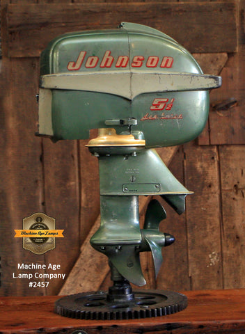 Steampunk Industrial / Antique Johnson Boat Motor / Nautical / Marine / Cabin / Lamp #2457