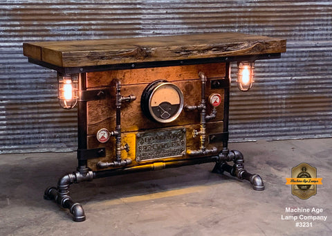 Steampunk Industrial Table / Pub, sofa console / Antique Furnace Door / Steam Gauge / Barnwood / Table #3231