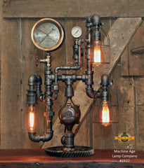 "Steampunk Industrial / Antique 6"" Steam Gauge Lamp / Gear Base / Lamp #2322"