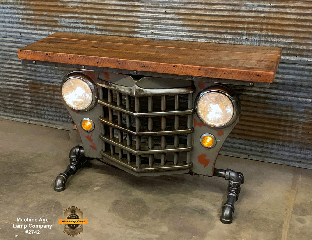 Steampunk Industrial / Automotive / Original vintage 50's Jeep Willys Grille / Table Sofa Hallway / Gray / Table #2742