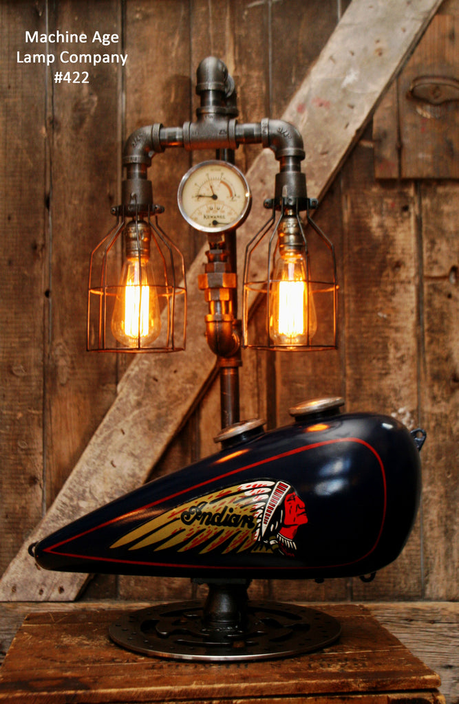 Steampunk Tank Lamp Vintage c1930 Chief Motorcycle  Gas Tank - #422 - SOLD