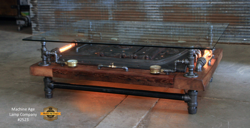 Steampunk Industrial Barnwood Coffee Table / Machine Age Lamps / Steam Gauge / Boiler Door /  Table  #2533