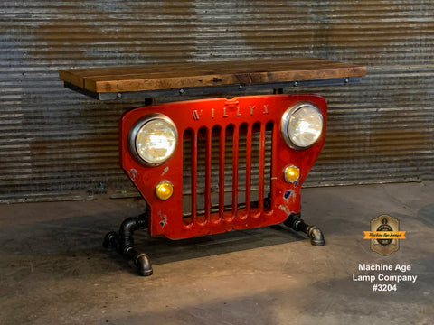 Steampunk Industrial / JEEP Willys / CJ3B / Barn Wood Top / Automotive / Table #3204