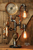 Steampunk Industrial Pipe Lamp, Antique Oiler and Steam Gauge - #953 - SOLD