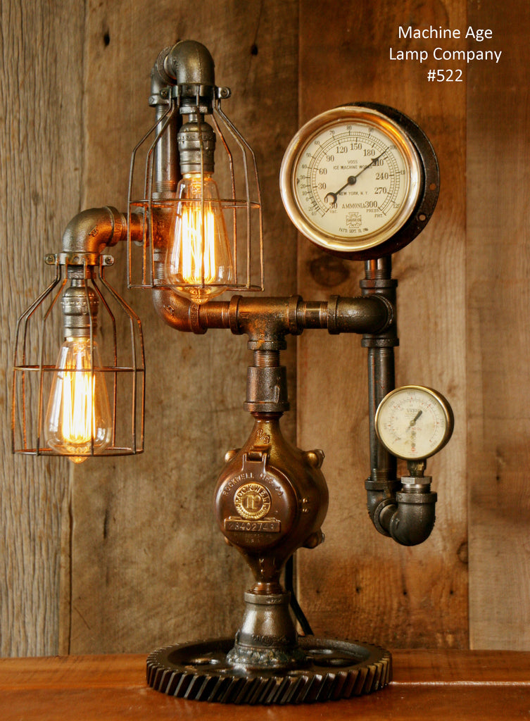 Steampunk, Industrial Steam Gauge and Gear Lamp #522