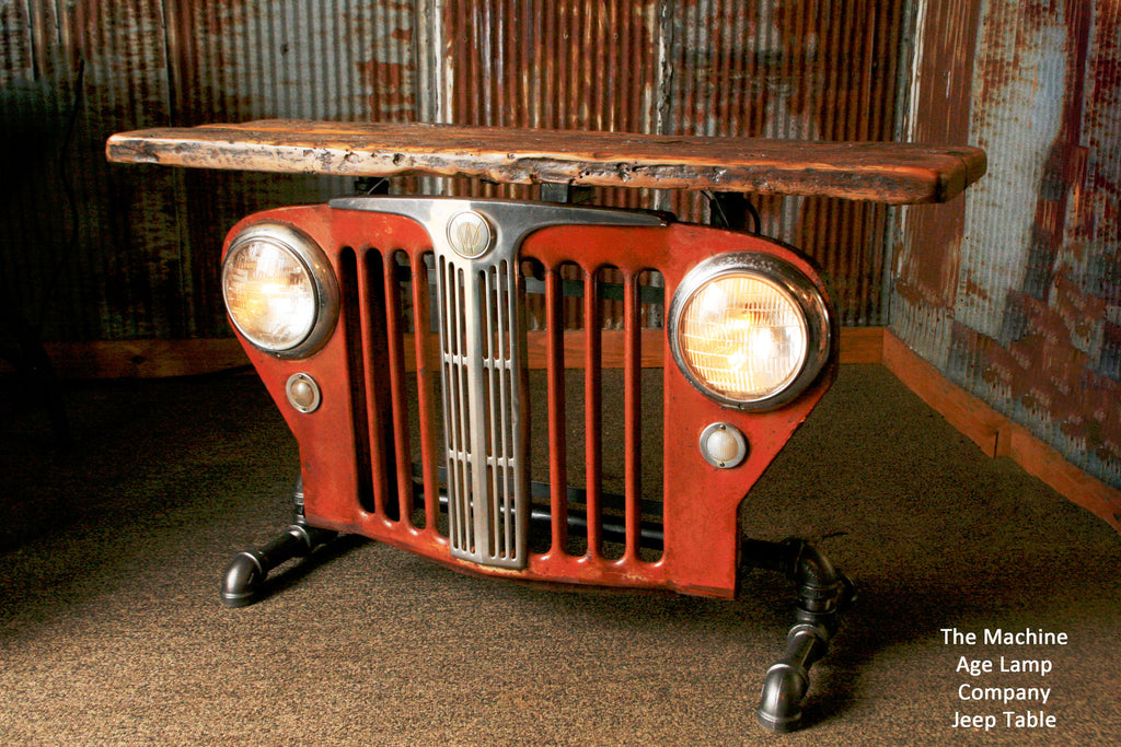 Industrial Antique Jeep CJ Military Willys Grille Table or lamp Stand - #746 - SOLD