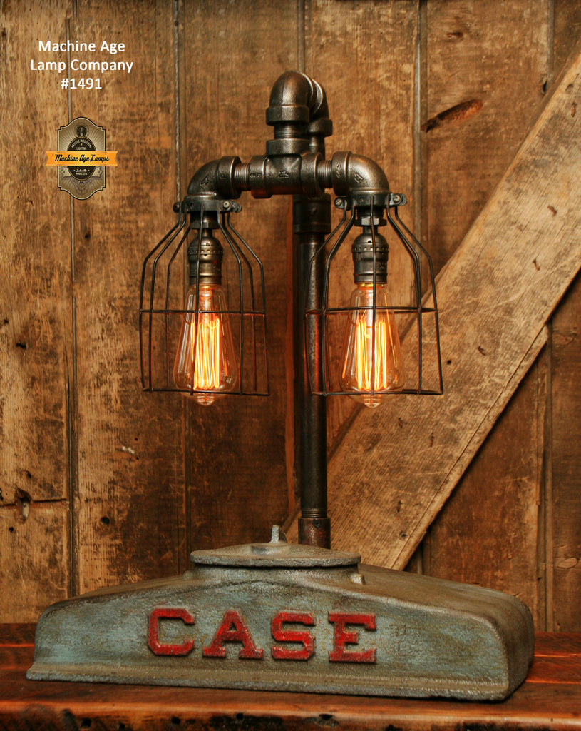 Steampunk Industrial Table Lamp / Case Farm Tractor / Lamp #1491