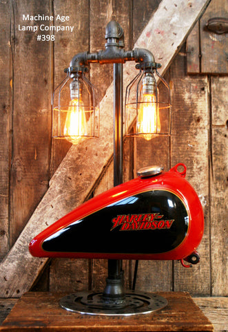 Machine age lamps harley davidson steampunk industrial lamp harley davidson motorcycle gas tank 398 sold mozeypictures Image collections