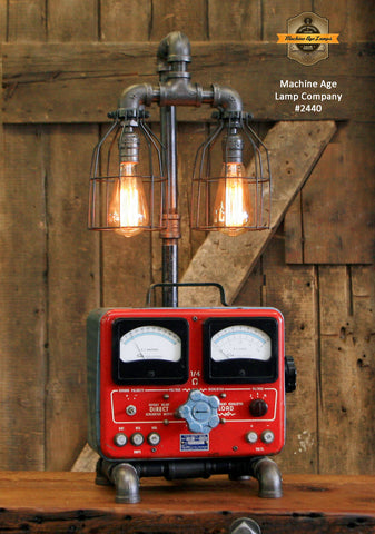 Steampunk Industrial Lamp / Antique Sun Volt Meter / Automotive /  Machine Age Lamp #2440
