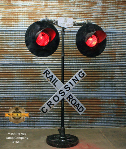 Steampunk Industrial / Railroad Crossing Light / Locomotive / Train Light Floor Lamp / #1649