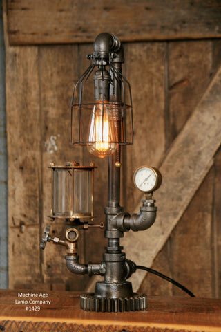 Steampunk Industrial / Steam Gauge Lamp / Oiler #1429