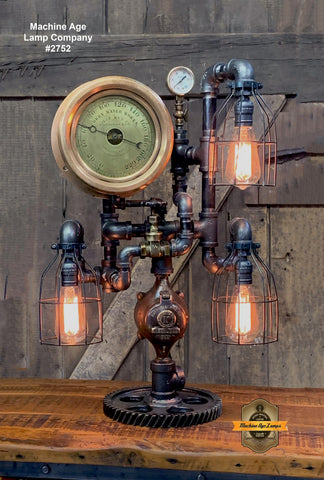 Steampunk Industrial / Machine Age Lamp / Antique Steam Gauge  / Corry Water works PA NY / Lamp #2752 sold