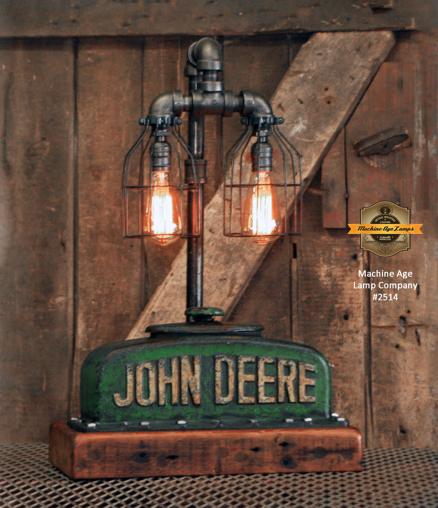 Steampunk Industrial Lamp / Antique John Deere BR / Radiator / Barnwood / Farm / Lamp #2514