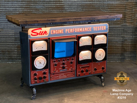 Steampunk Industrial / Antique Sun Engine Analyzer / Automotive / Barn wood Pub Table Bar / #3210