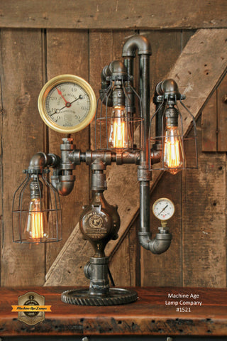 Steampunk Industrial Steam Gauge Lamp / Memphis / Tenn #1472