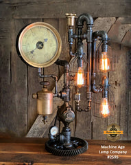 Steampunk Industrial / Steam Gauge Lamp / Kewanee Boiler  / Oiler / Lamp #2595