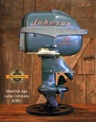 Steampunk Industrial / Antique Johnson Boat Motor / Nautical / Marine / Cabin / Lamp #2807