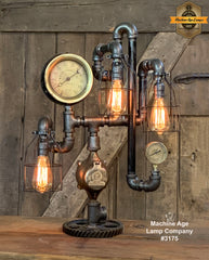 Steampunk Industrial / Buffalo NY / Machine Age Lamp / Antique Steam Gauge / Railroad  / Lamp #3175 sold
