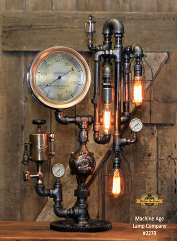 Steampunk Industrial Machine Age Lamp / Steam Gauge / Oiler / Gear / New York / Lamp #2279
